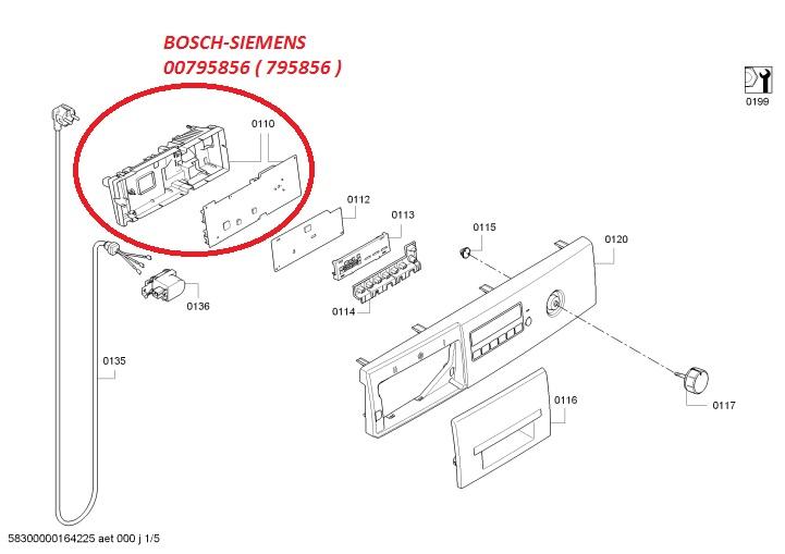 Электронный модуль управления Стиральной Машины BOSCH-SIEMENS 00795856