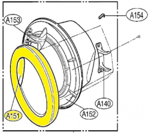 Обечайка люка Стиральной Машины LG MDQ62176401 ( Внешнее обрамление )