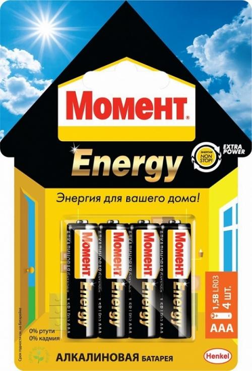 Батарейки Момент Energy 2098785 АAА 1,5V LR03 (х 4 блистер)