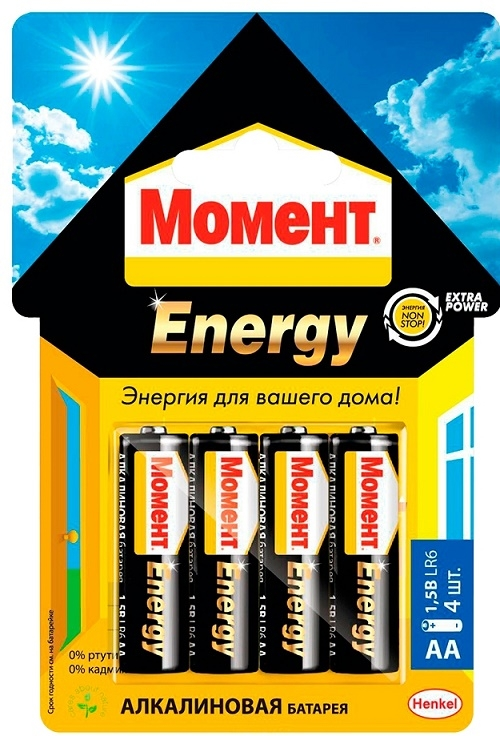 Батарейки Момент Energy 2098798 AA 1,5V LR6 (х 4 блистер)