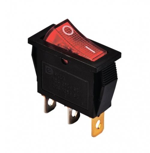 Переключатель клавишный KCD3-101N ( 3 контакта черный )